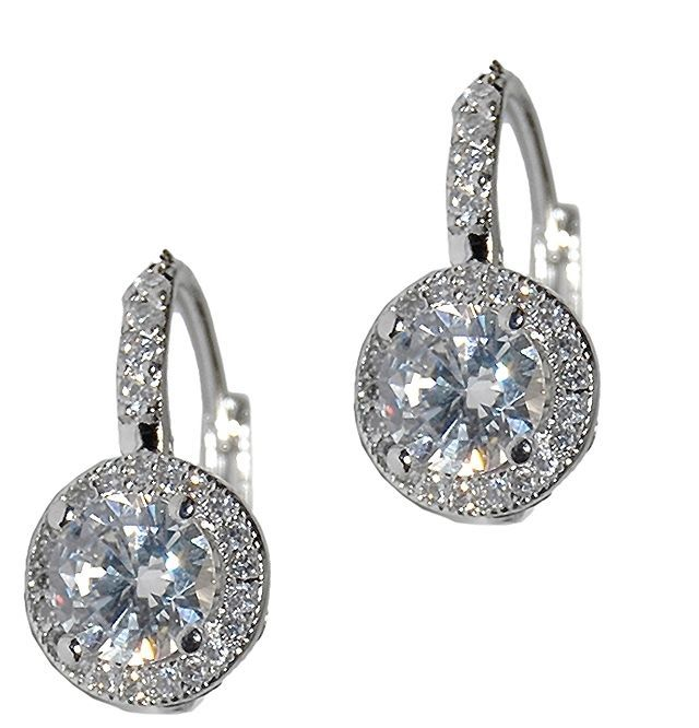 Primary image for DAINTY PAVE+ROUND HALO CUBIC ZIRCONIA CZ LEVER BACK EARRING -BRIDAL 17MM
