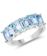 4.08CTW Emerald Cut Genuine Blue Topaz Sterling Silver Band Ring/925 - $68.31+