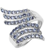 1.54CTW Genuine Tanzanite Layered Knuckle Sterling Silver Ring-925 - $129.99