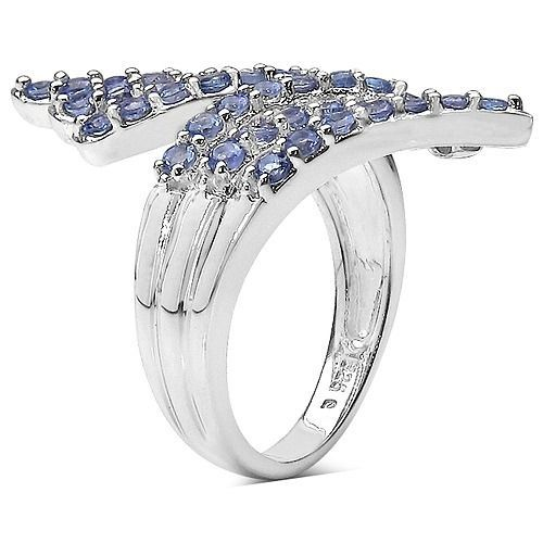 1.54CTW Genuine Tanzanite Layered Knuckle Sterling Silver Ring-925