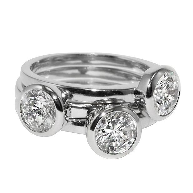 Primary image for CZ-Casual Layered 3 Ring Bezel Set Stackable Style Cubic Zirconia Band Ring-HOT