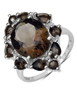6.03 CTW Genuine Smoky Quartz Trendy Knuckle Sterling Silver Ring/925 - $89.99