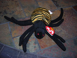 Beanie Babies Baby Ty Spinner Spider Striped 1996 Halloween Retired Collectible - $4.90