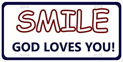 Primary image for Smile. God Loves You. Personalized Tag Vehicle Car Auto License Plate