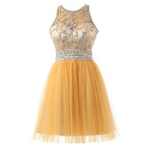 Blevla Scoop Neck Sequined Short Tulle Homecoming Cocktail Dress Prom Party G... - $129.99