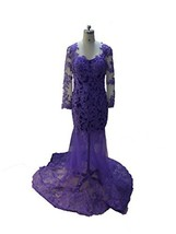Blevla Long Sleeves Sheer Back Lace Tulle Prom Dress Evening Gown Purple US 2... - $129.99