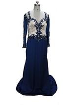 Blevla V Neck Long Sleeves Beaded Chiffon Prom Dress Formal Evening Gown Roya... - $159.99