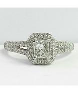 1.06 Carat E-SI2 Princess Cut Diamond Engagement Ring Split Shank 18k Wh... - $2,177.01