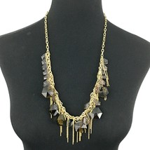 J CREW statement necklace - brown hexagon glass bead gold-tone chain dan... - $20.00