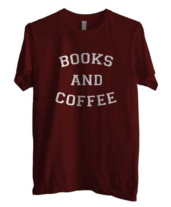 Primary image for Books and Coffee Men Tee S - 3XL MAROON