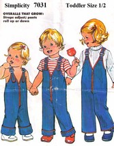 1970's OVERALLS Pattern 7031-s Toddler Size 1/2 - UNCUT - $10.99