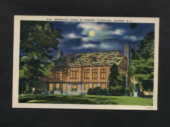 Vintage Postcard Hickory NC Linen Country Club House Clubhouse Unused