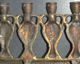 Judaica Menorah Hanukkah Vintage Israel Bronze Hen Holon Signed Oil Jug 1960's image 6