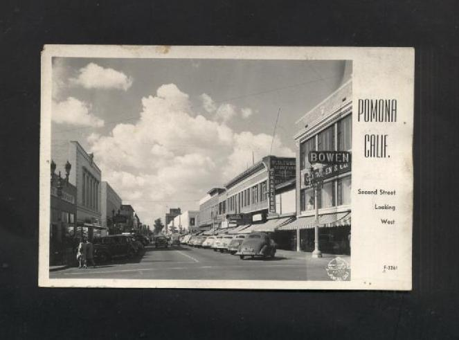Vintage Postcard 1940s 1950s Pomona CA Second Street Advertising Old Cars
