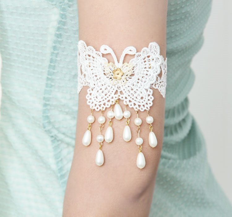 Primary image for White Lace Butterfly and Beads Arm Band Unique Fashion Jewelry