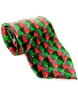 Holidays Men's Dress Necktie 100% Silk Green Red Christmas Trees Holiday... - $14.85