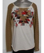 We the free Size S/P Beige Brown Plaid Accent Round Neck  Cotton Blend Top - $11.72