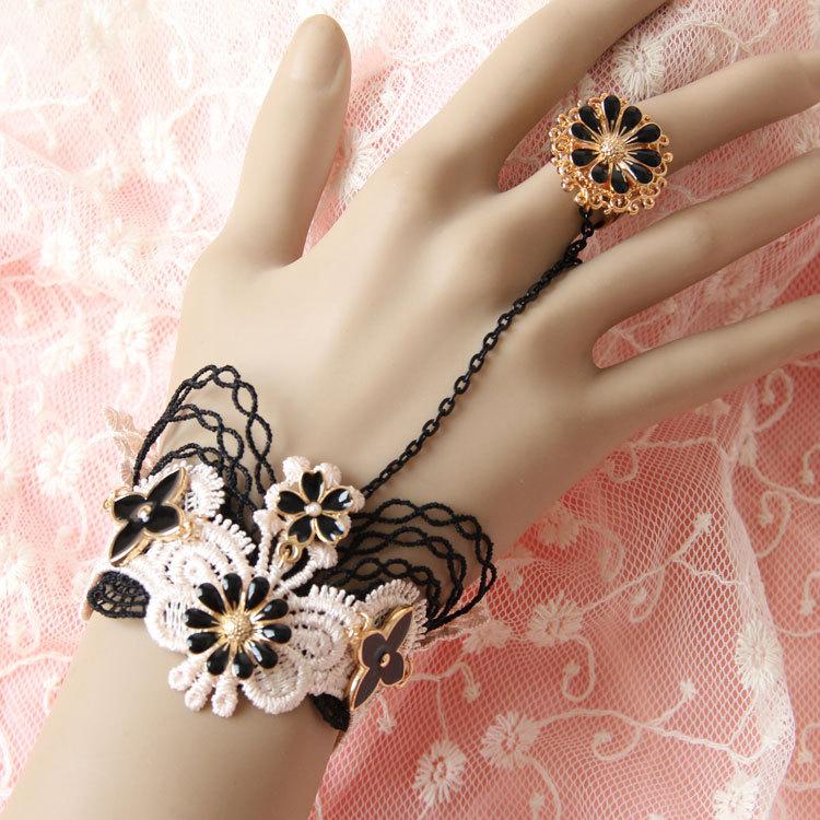 Black Pink Floral Bracelet Ring Unique Fashion