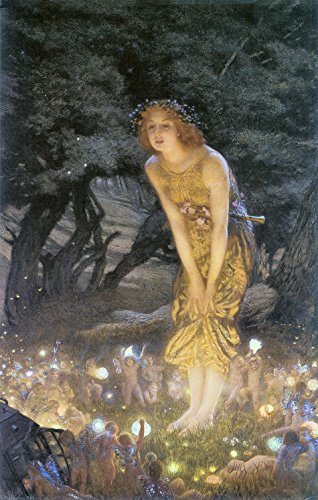 Primary image for Vintage Reproduction Print Fairy Garden 11x17 Midsummer Eve 1908