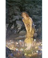 Vintage Reproduction Print Fairy Garden 11x17 Midsummer Eve 1908 - $27.79