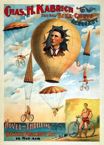 Primary image for Vintage Reproduction Print Circus Branum Bailey Bike Chute