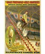 Vintage Reproduction Print Circus Forepaugh and Sells Bros. 1900c Bicycl... - £21.36 GBP