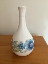 "Wedgwood CLEMENTINE 5"" Bud Vase Blue Lavender Flowers   - $13.37"