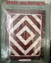 """Easy Big Blocks"" Pattern ""Log Cabin"" Tissue Paper Foundations 10"" block... - $7.99"