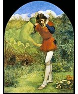 Vintage Reproduction Print Fairy Garden 11x17 Ferdinand Lured by Ariel 1849 - $27.79