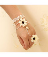 White Flowers Bracelet and Ring/Wedding Theme/Bridesmaid Jewelry - $7.00