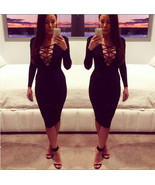Sexy Long sleeve Women's Lace Strap Dress V-Neck Fitted Body Knee Length... - $12.00