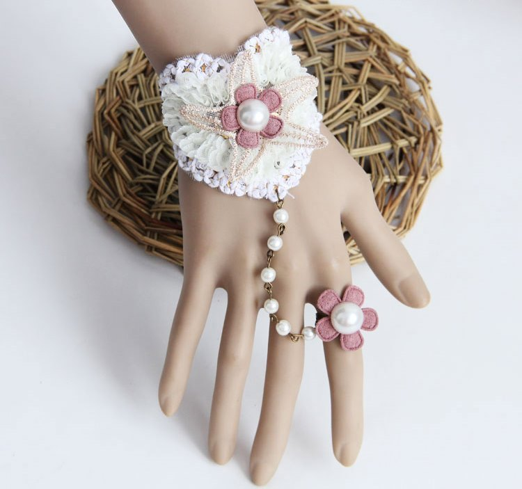 Primary image for White Heart Shaped Lace Bracelet Beads Pink Felt Ring