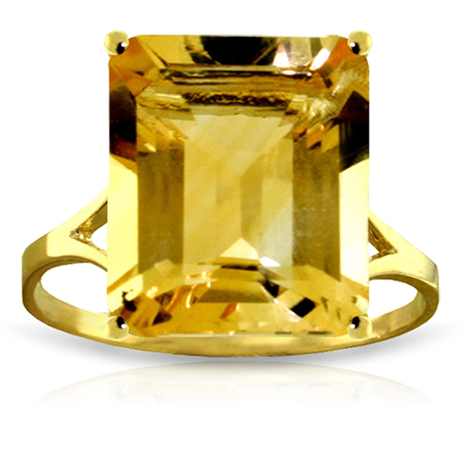 Primary image for Size 6 Brand New 6.5 ct 14K Solid Gold Ring Octagon Citrine