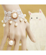 White Pearl and Beads Bracelet and Ring/Wedding Jewelry - $7.00