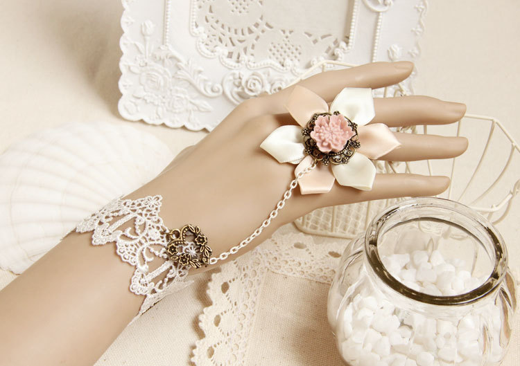 Pink Resin Cabochon Flower Ring and White Bracelet