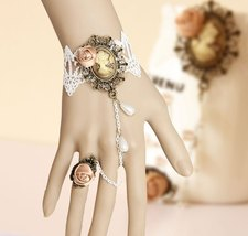 Vintage Woman Portrait Crafted Cameo Bracelet and Pink Flower Ring - $9.80
