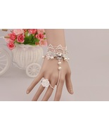 Silver Skull Angel Wings White Lace Bracelet White Flower Ring Adjustable - $7.00