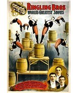 Vintage Reproduction Print Circus Ringling Brothers 1900 Barrel Act - £21.25 GBP