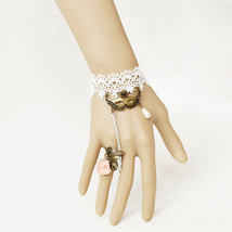 Masquerade Mask White Lace Bracelet and Pink Satin Flower - $9.80