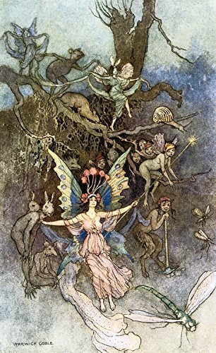 Primary image for Vintage Reproduction Print Fairy Garden 11x17 Book of Fairy Poetry III 1920