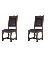 Two Rustic Gran Hacienda Leather Dining Chairs Solid Wood Lodge Old World - $866.20