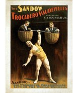 Vintage Reproduction Print Circus Sandow Strong Man - $27.79