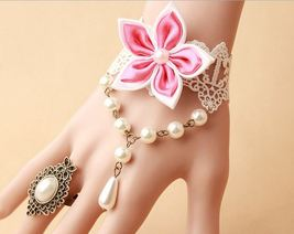 Pink Satin Flower White Lace Bracelet White Beads and Pearl Ring/ Brides... - $7.00