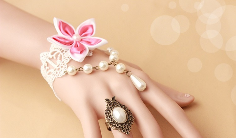 Pink Satin Flower White Lace Bracelet White Beads and Pearl Ring/ Bridesmaid Jew