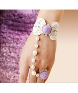 Purple Oyster Shell Ribbon Bracelet and Beaded Adjustable Ring - $7.00
