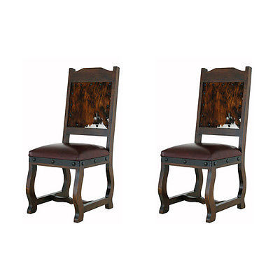 Two Gran Hacienda Hide Dining Chairs Solid Wood Lodge Old World