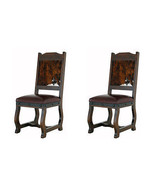 Two Gran Hacienda Hide Dining Chairs Solid Wood Lodge Old World - $866.20
