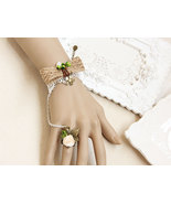 Peach Satin Flower Ring Brown Ribbon Bow White Lace Bracelet/ Nature Design - $7.00