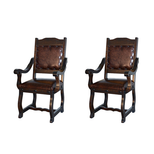 Two Gran Hacienda Leather Arm Chairs Solid Wood Lodge Old World