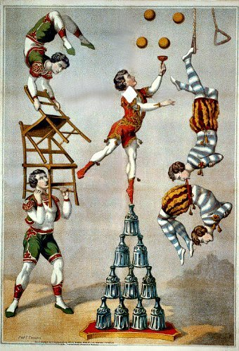 Primary image for Vintage Reproduction Print Circus Acrobatic Act 1870